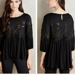 Deletta Black Desi Crochet Lace Babydoll Top